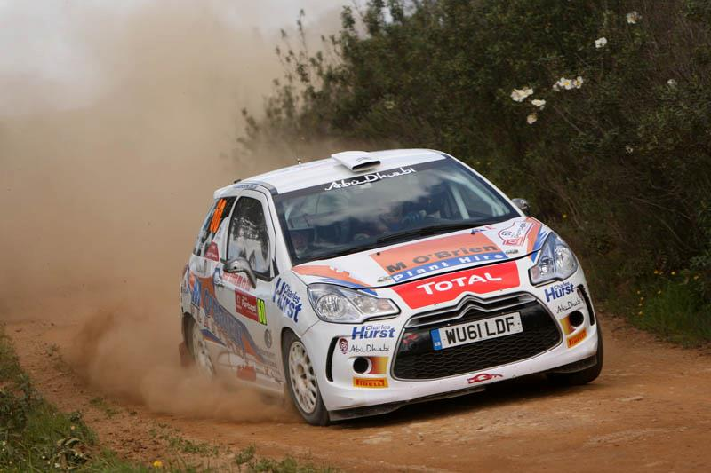 Keith Cronin and  co-driver Marshall Clarke's Citroën DS3 in action at the Rally de Portugal